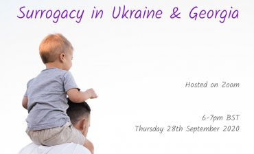 Child on parents shoulders, from behind. Words: Surrogacy in Ukraine and Georgia