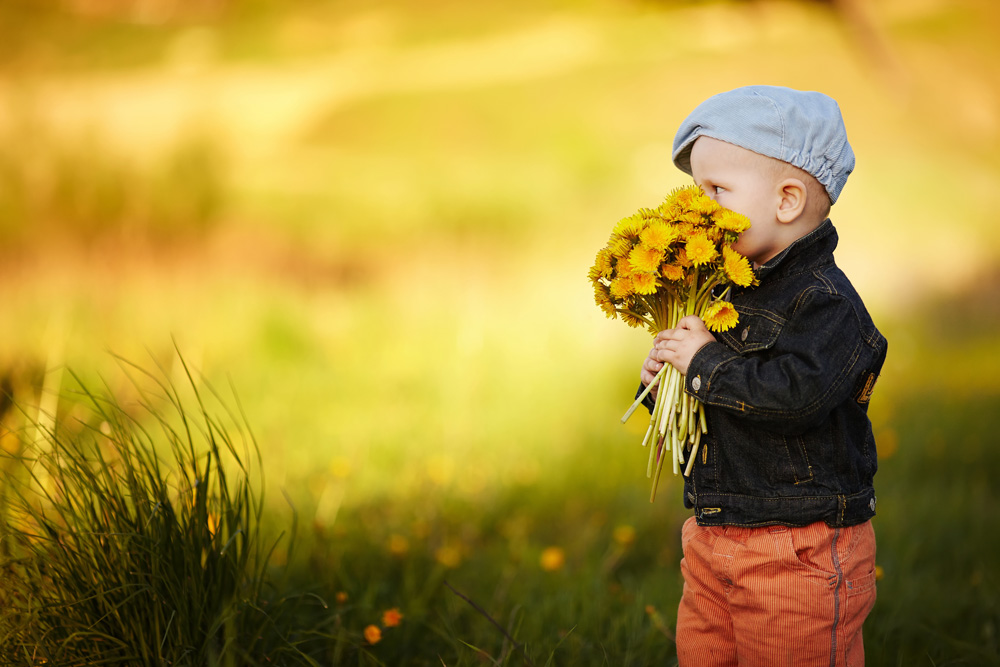 small boy with bunch of below flowers
