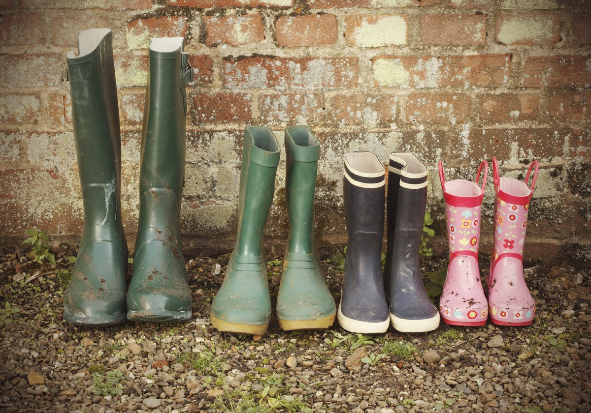 row of wellington boots