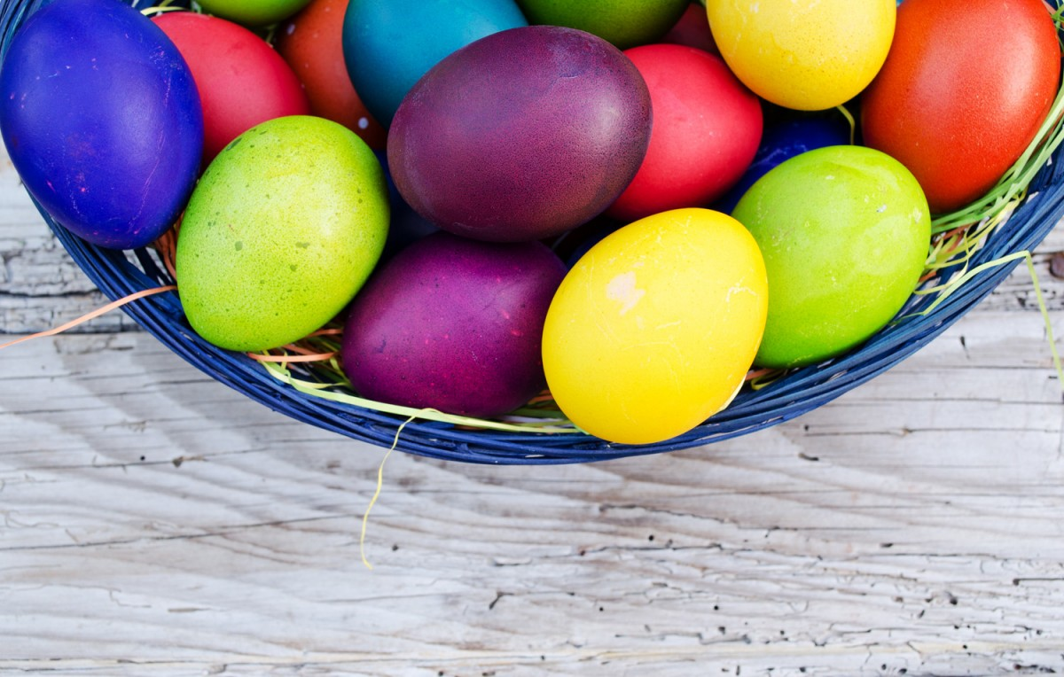 bowl of brightly coloured eggs