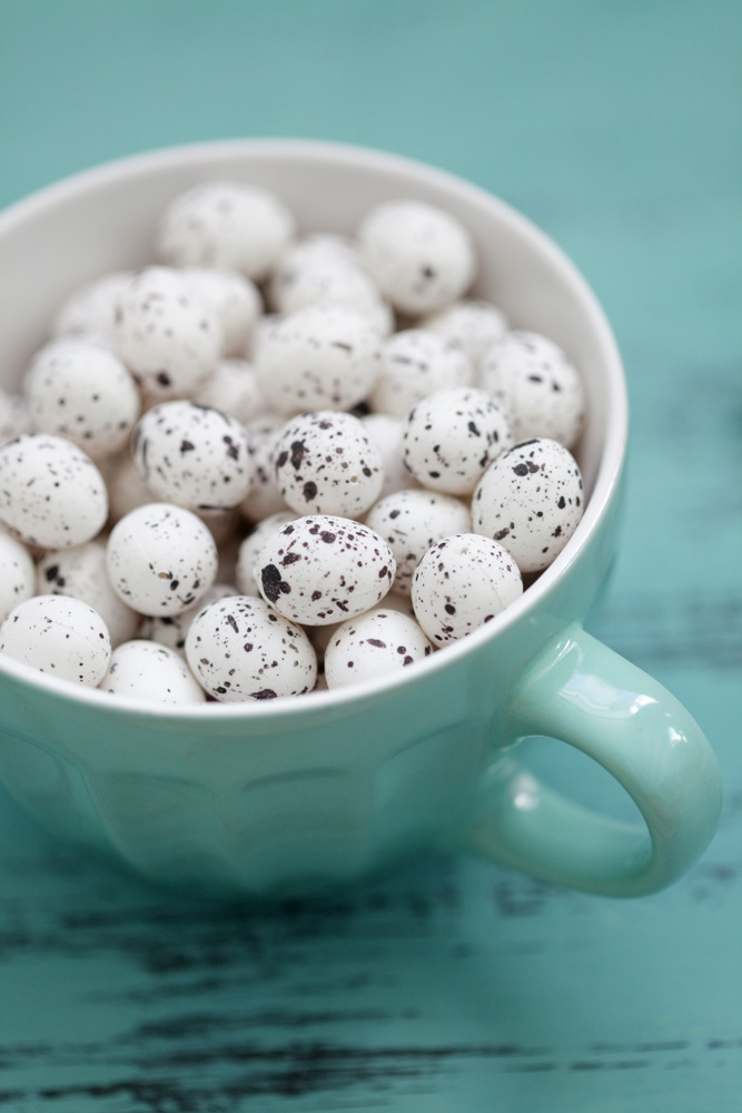 bowl of speckled eggs