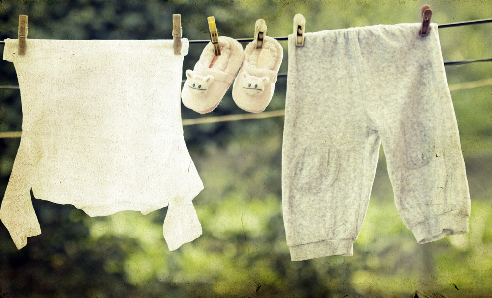 washing line with baby clothes