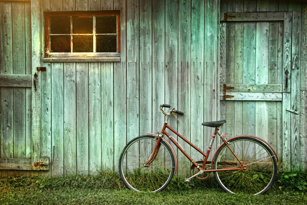 bike against shed